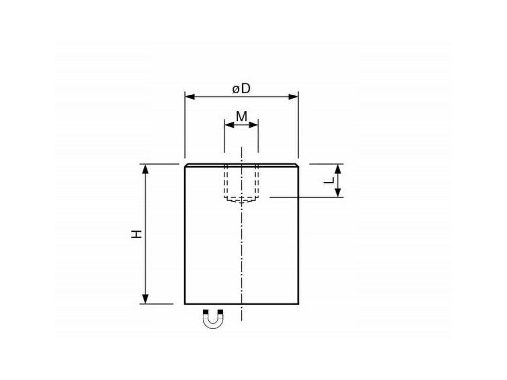AlNiCo magnetická čočka válcová s vnitřním závitem 32x40 mm