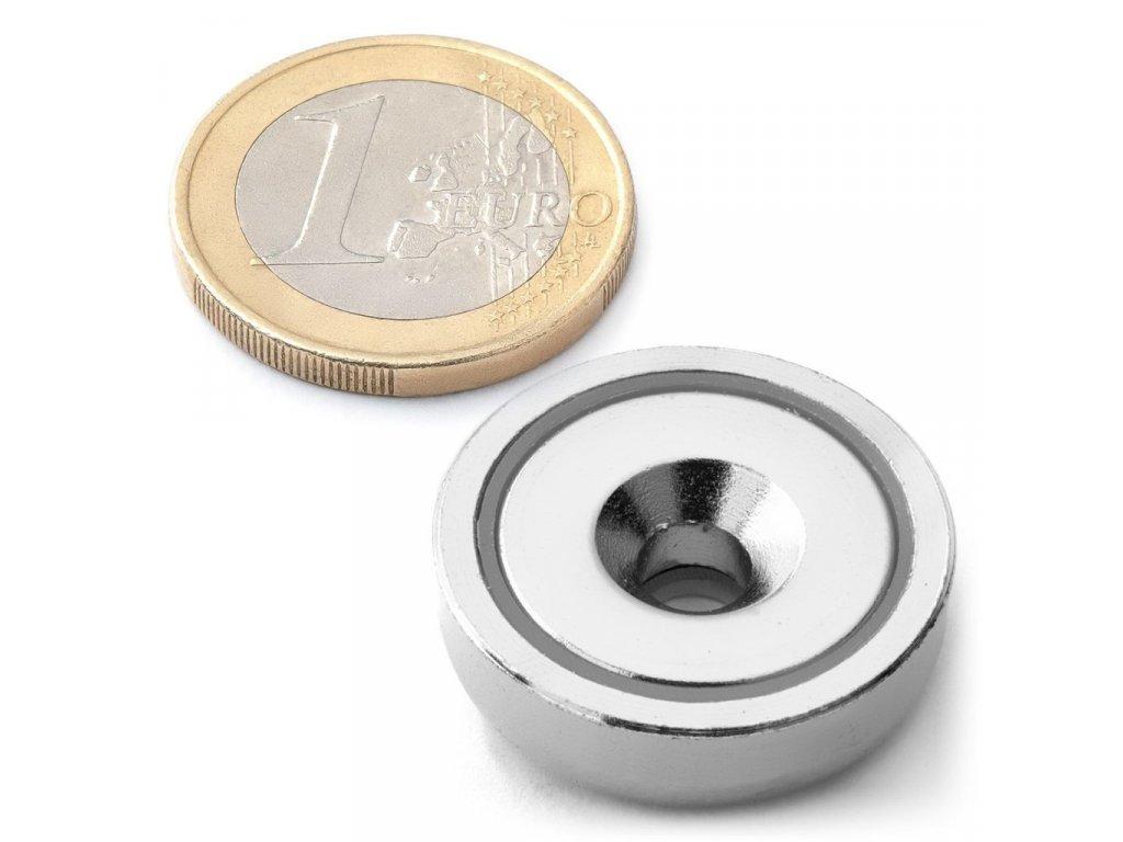 NdFeB magnetická čočka se středovou dírou s 90° sražením