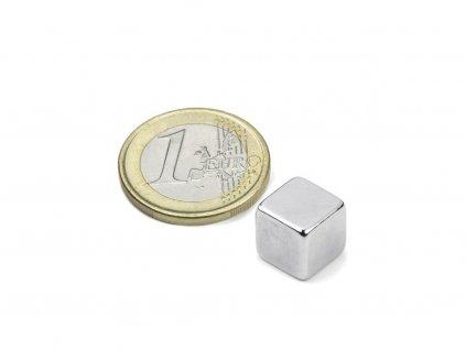 Neodymový magnet hranol 10x10x10mm, Neodym, N42, poniklovaný
