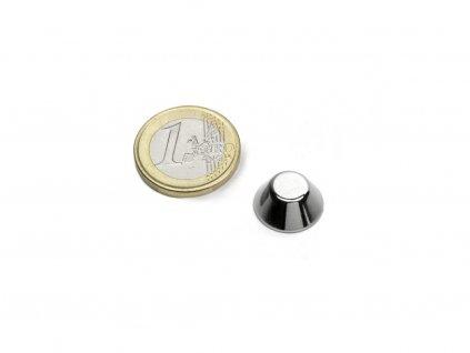 Neodymový magnet kónický D15/8mm, H6mm, Neodym, N42, poniklovaný