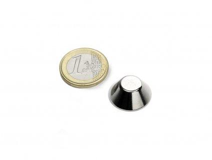 Neodymový magnet kónický D20/10mm, H8mm, Neodym, N38, poniklovaný