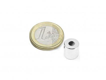Neodymový magnet mezikruží D10/4mm, H5mm, Neodym, N42, poniklovaný