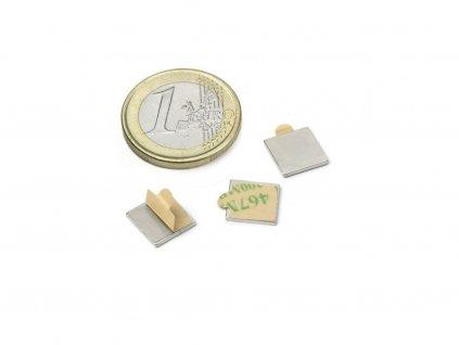 Neodymový magnet hranol (samolepící) 10x10x1mm, Neodym, N35,poniklovaný